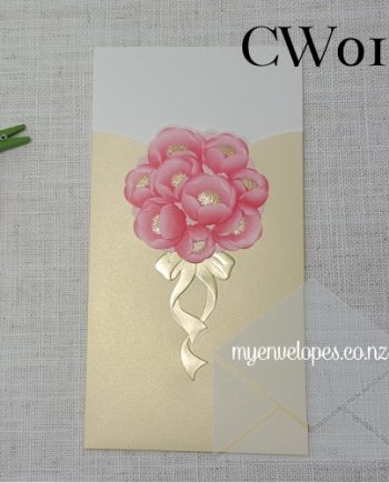 CW017 Flower Embossed Pink Gold Sleeve Invitation Cover Sleeve auckland nz