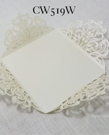 White Beige cream lasercut wedding invitation cover