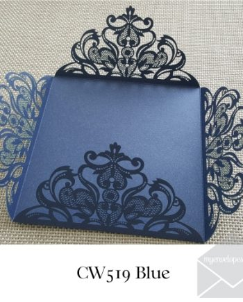 blue four flap laser wedding invitation cover