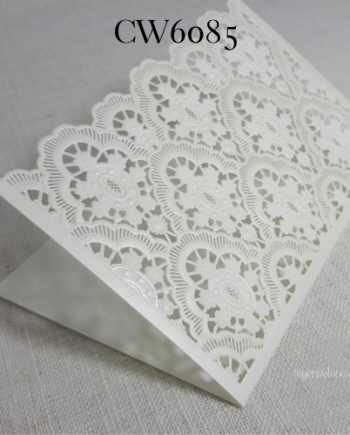 white lasercut tent wedding invitation cover