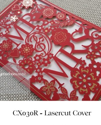 Z-CX030R Red Mr and Mrs Wedding Invitation Cover Sleeve Lasercut