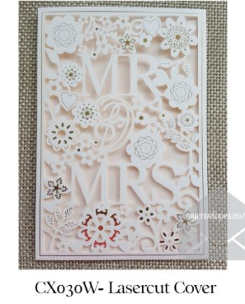 Z-CX030W White Mr and Mrs Wedding Invitation Cover Sleeve