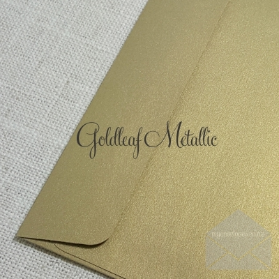 Goldleaf Metallic Rectangle Flap C7 120gsm (goldleaf metallic) Envelope Size: 85mm x 115mm Tropical Seal ( also known as Lick and Stick or Gummed ) My Envelopes Auckland NZ