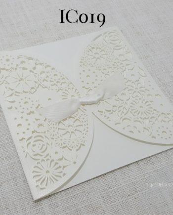 Z-IC019 White Gatefold Ribbon Lasercut My Envelopes Auckland