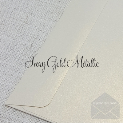 Ivory Gold Metallic C5 Envelope Rectangle Flap My Envelopes Auckland NZ