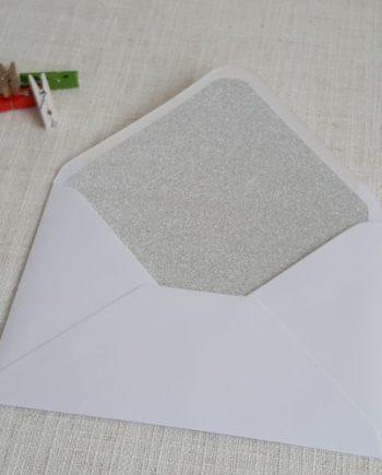 Silver Glitter Envelope Liners Diamond White Envelopes 5x7 Auckland New Zealand myenvelopes