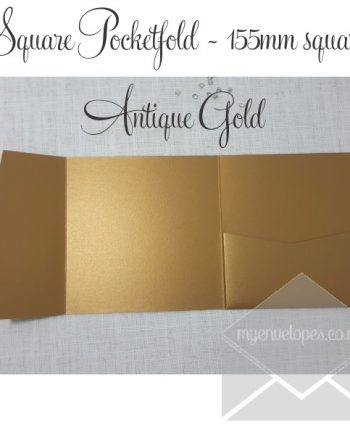 Antique Gold Metallic Pocketfold Wedding Invitations - 155mm Sq