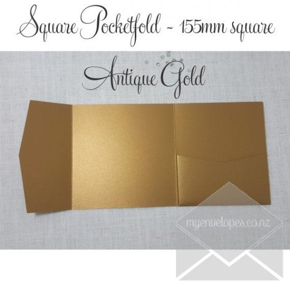 Antique Gold MetallicPocketfold Wedding Invitations - 155mm Sq