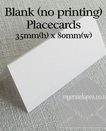 Blank Placecards 35mm High x 80mm Wide My Envelopes Auckland NZ