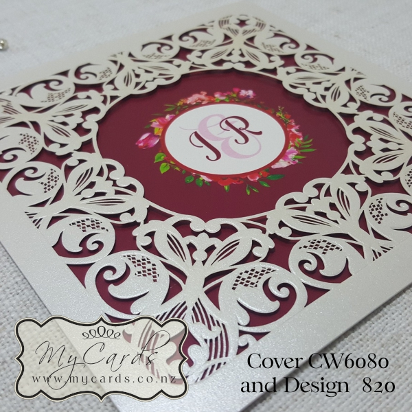 Wedding Gifts Auckland: Z-CW6080 Lasercut Square With Circle Wedding Invitation