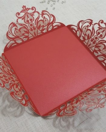 Red Laser Cut Four Flap Wedding Invitation Cover My Envelopes Auckland NZ
