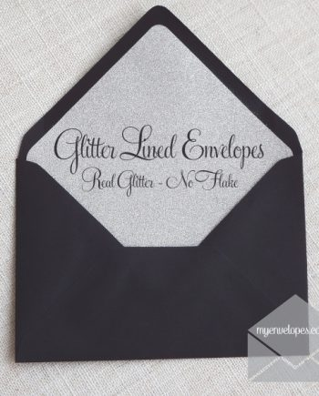 Glitter Envelope Liner Black with Silver C6