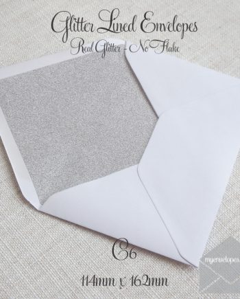 Glitter Envelope Liner White with Silver C6 My Envleopes Auckland NZ