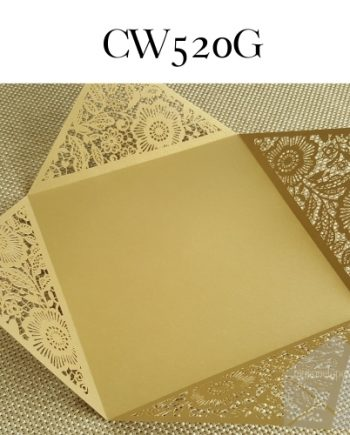 Z-CW520 Gold Laser Cut Four Flap Straight Sides My Envelopes Auckland