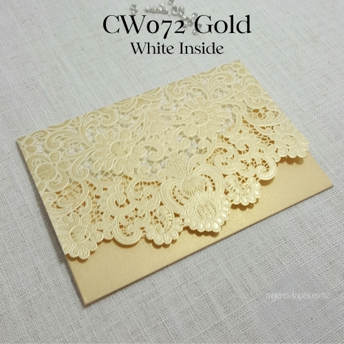 Z-CW072GW Gold with White Inside Lasercut Pocket My Envelopes Auckland