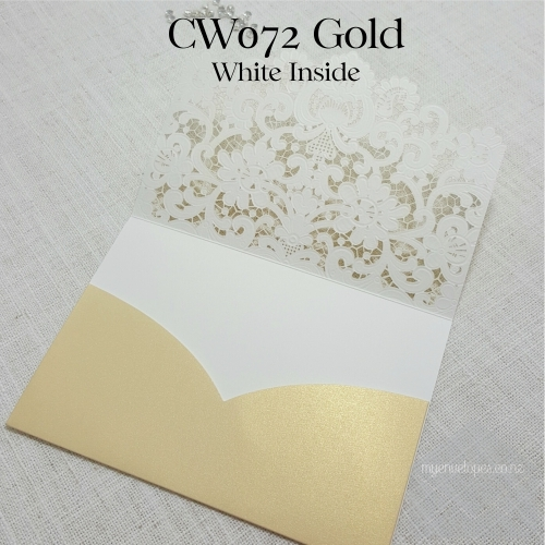 gold lasercut pocket wedding invitation cover