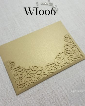 Z-WI006 Gold Lasercut Pocket Invitation Cover My Envelopes Auckland NZ