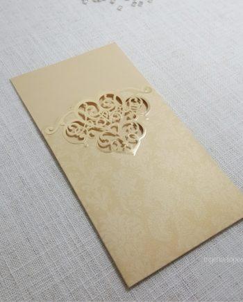 WI038 Gold Sleeve Wedding Invitation Cover Lasercut