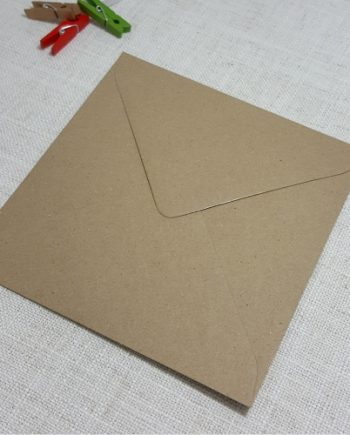 Kraft Recycled 155mm Square Envelopes Diamond Flap 120gsm