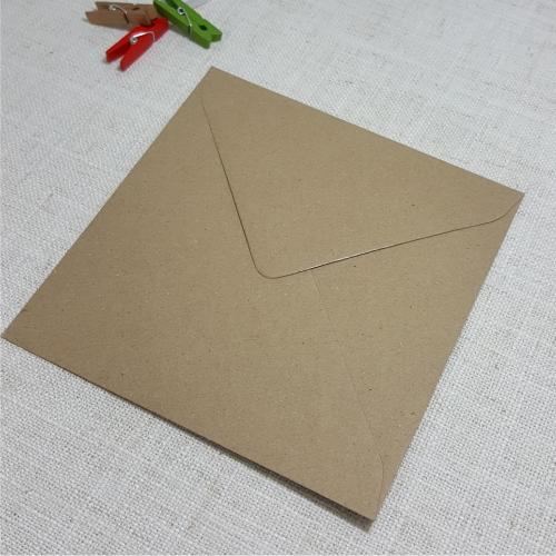 Kraft Recycled 155mm Square Envelopes Diamond Flap 120gsm