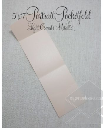 Light Coral Metallic Pocketfold - 5x7 Vertical my envelopes auckland nz
