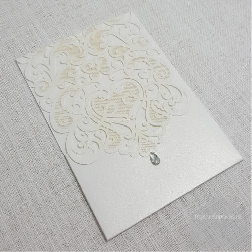 Z cw5001 white pocket rhinestone lasercut wedding invitation cover metallic shimmer lasercut wedding invitation cover rhinestone auckland nz w5001 stopboris Image collections