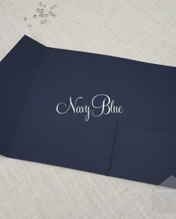 navy blue pocketfolds wedding invitations