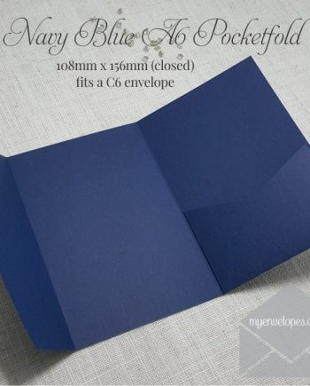 Dark Blue A6 Pocketfold Wedding Invitation My Envelopes Auckland NZ