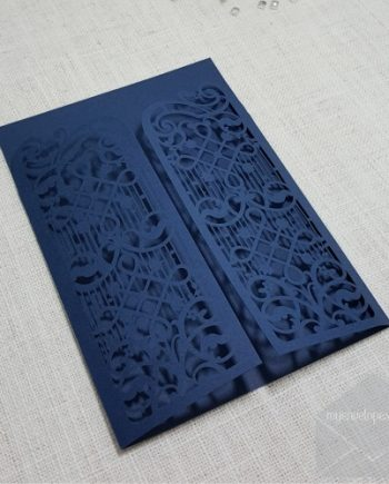 Z-CW5102 Blue Gate Wedding Invitation Cover Lasercut Auckland NZ my envelopes