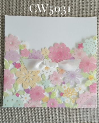 Z-CW5031 Pastel Flower Sleeve Lasercut Wedding Invitation Cover My Envelopes Auckland