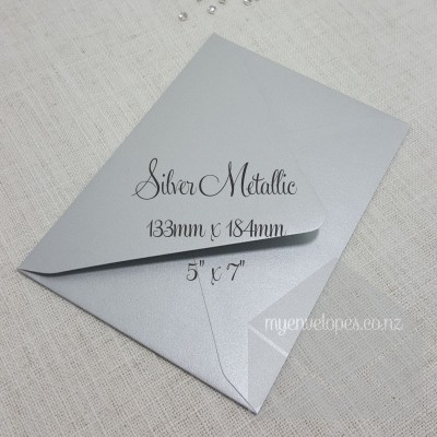 Silver Metallic Envelope 5x7 Diamond Flap My Envelopes Auckland Nz