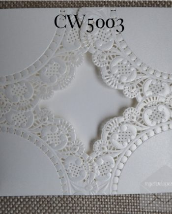 Z-CW5003 White Sleeve Lace Doily Lasercut Wedding Invitation Cover Measurements 150mm x 150mm Comes with a FREE envelope and Seal Sticker My Envelopes Auckland NZ