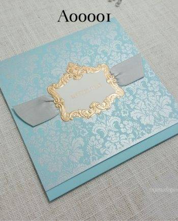 teal blue green wedding invitation cover with gold and ribbon auckland nz embossed