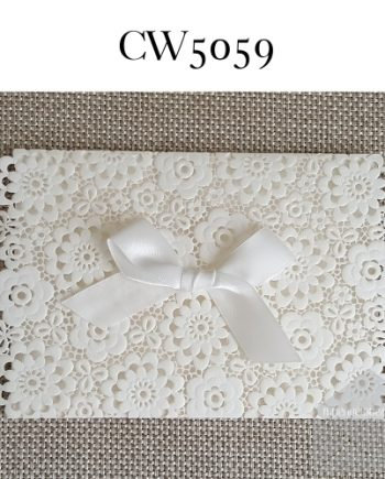 Z-CW5059 White Flower Sleeve Ribbon Lasercut My Envelopes Auckland