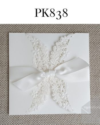 Z-PK838 White Gatefold Ribbon Lasercut My Envelopes Auckland