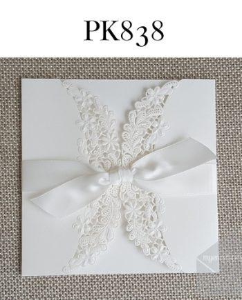 Z-PK838 White Gatefold Ribbon Lasercut My Envelopes Auckland